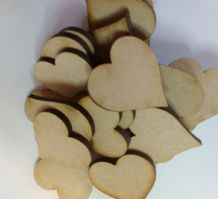 50 x 30mm heart craft shapes laser cut 3mm MDF decoupage, embellishments